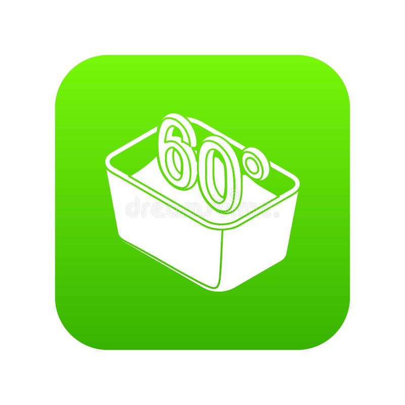 Entregue a lavagem 60 graus de vetor Célsio do verde do ícone ilustração do vetor