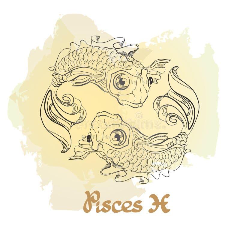 Entregue a linha arte tirada de Peixes decorativos do sinal do zodíaco ilustração stock