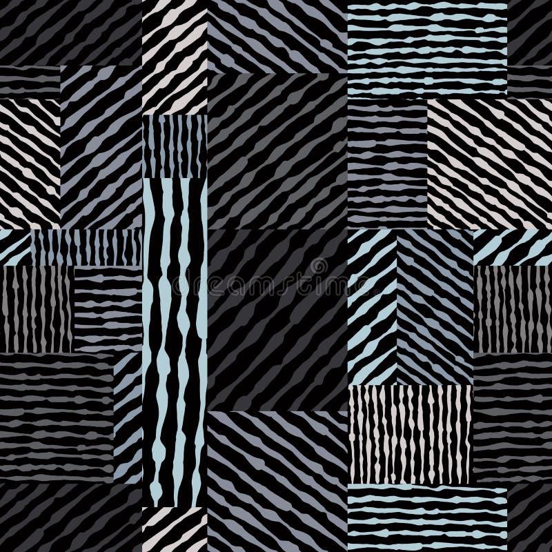 Entregue a linhas tiradas texturas o teste padrão sem emenda, vagabundos tirados mão do vetor ilustração stock