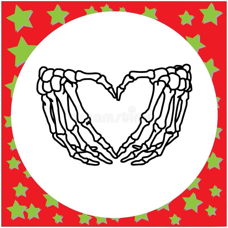 Entregue a mão de esqueleto tirada com iso da ilustração do vetor do sinal do coração ilustração do vetor