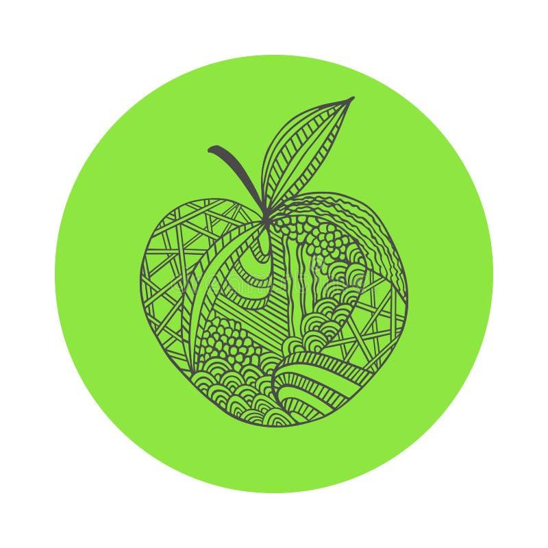 entregue a maçã preta tirada do esboço no fundo redondo verde Ornamento de linhas da curva ilustração royalty free