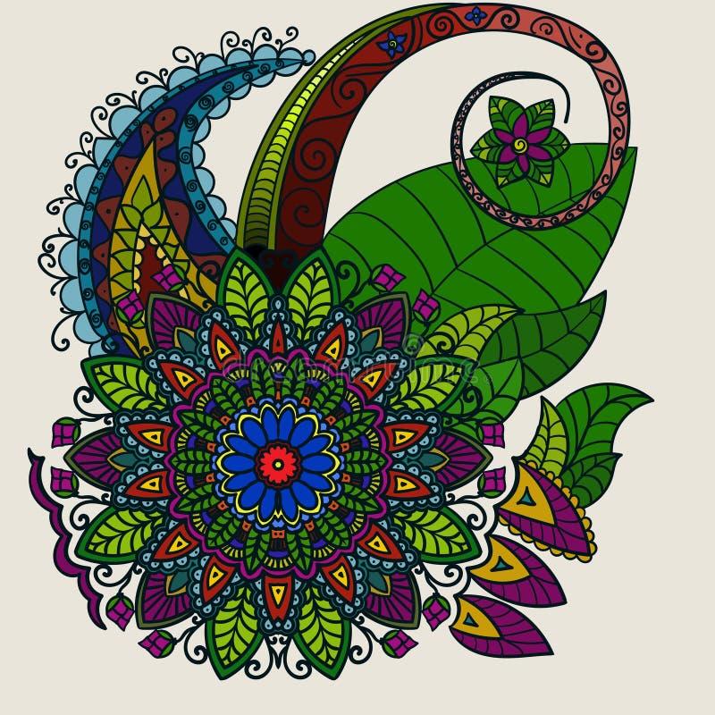 Entregue a mandala tirada, o teste padrão colorido circular para a decoração, a decoração colorida da mandala, as flores da manda ilustração stock