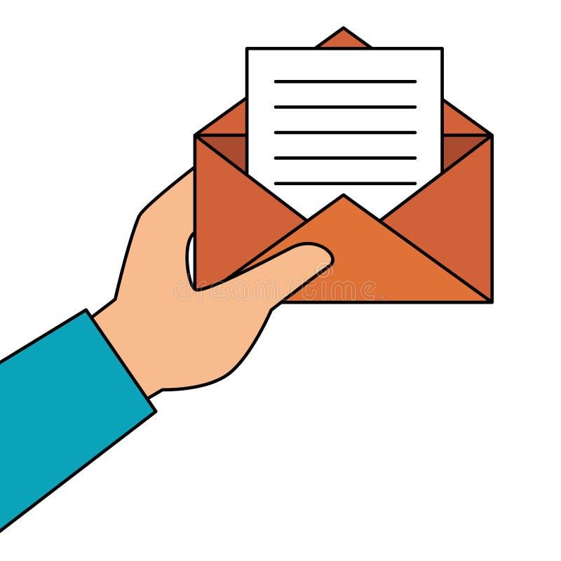 Entregue manter envelopes do papel vazio abertos com folha ilustração royalty free