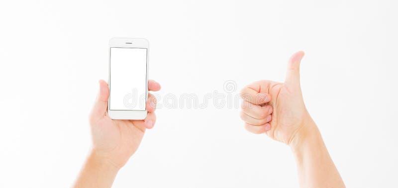 Entregue manter o telefone branco isolado no branco e nas mostras os gostos Vista superior Zombaria acima Copie o espaço molde bl foto de stock royalty free