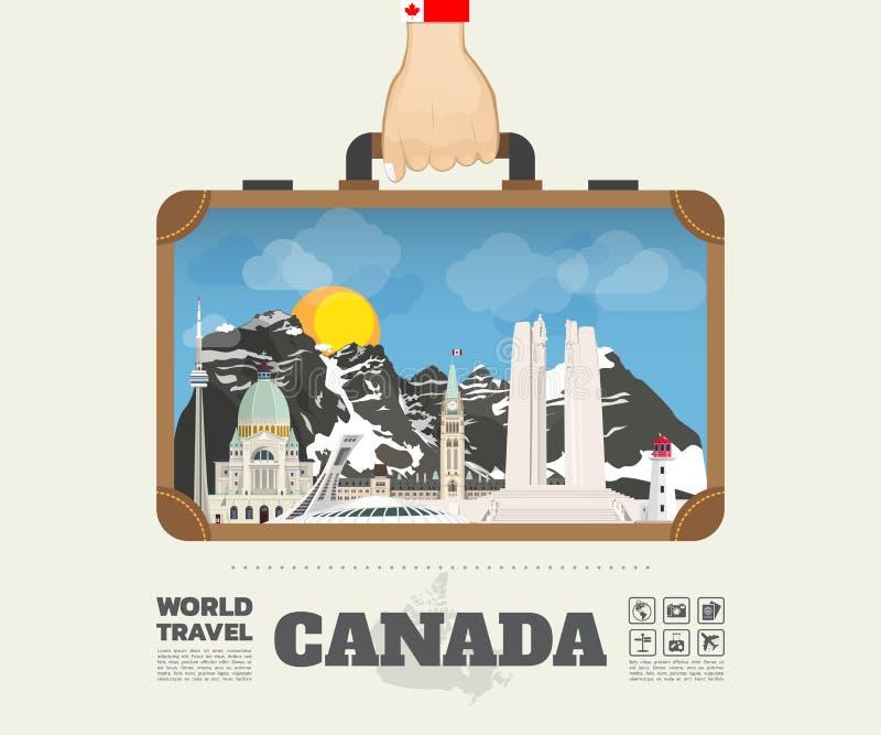 Entregue a marco levando de Canadá o curso e a viagem globais ilustração do vetor