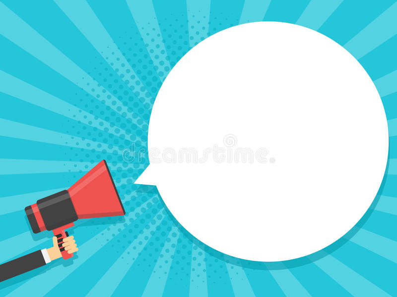 Entregue a megafone da posse o fundo retro cômico com bolha Ilustração do vetor ilustração do vetor