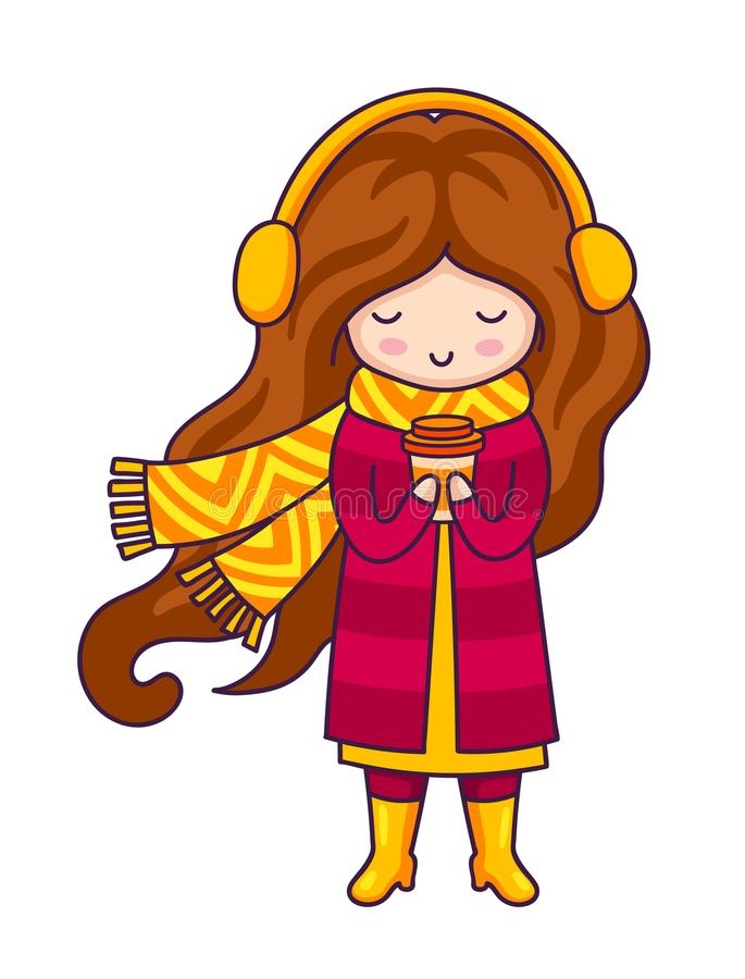 Entregue a menina bonito bonita tirada com café em suas mãos ilustração do vetor