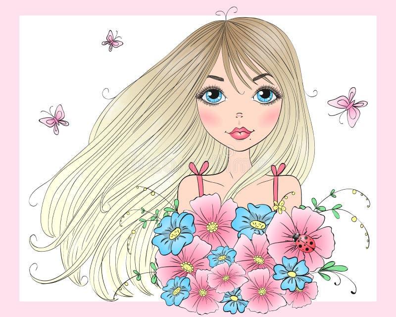 Entregue a menina bonito bonita tirada com um ramalhete das flores e das borboletas ilustração stock