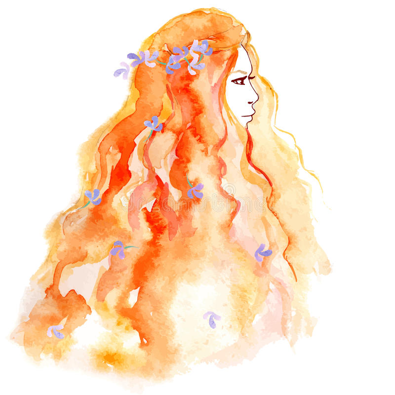 Entregue a menina do esboço do desenho com a flor no cabelo imagem de stock