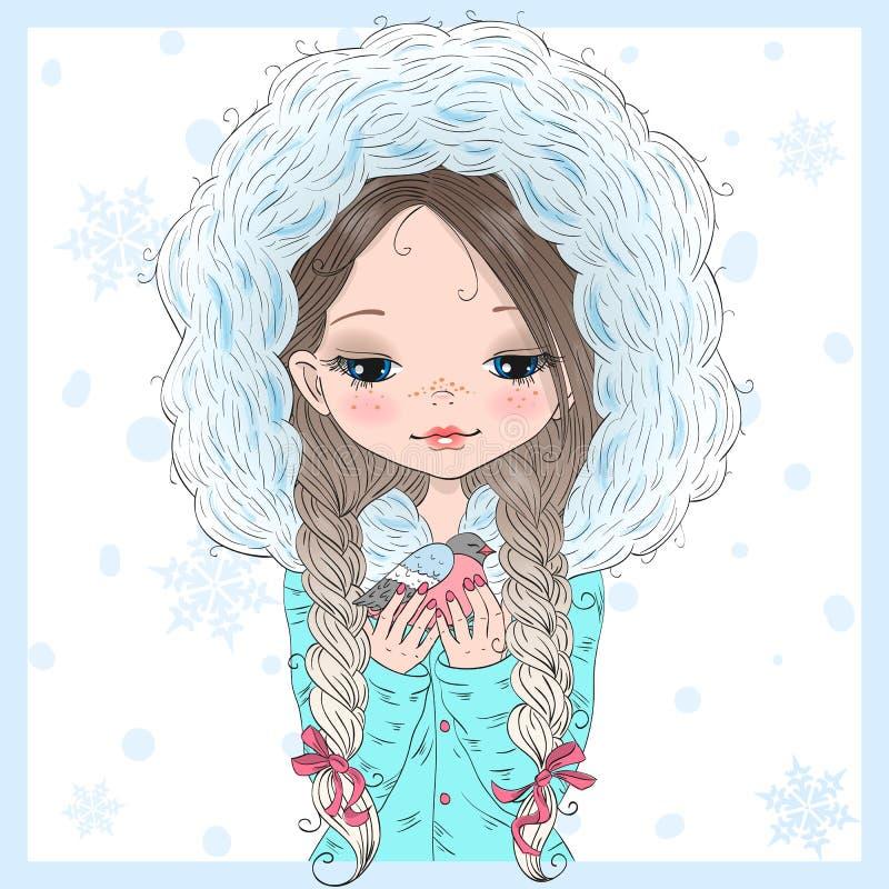 Entregue a menina pequena bonito bonita tirada do inverno com um pássaro ilustração do vetor