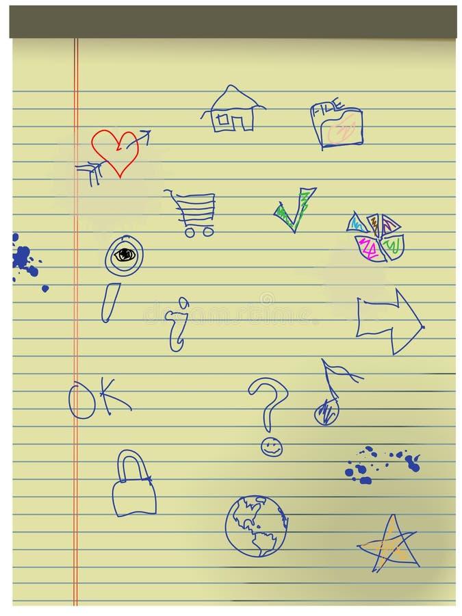 Entregue a miúdos desenhados de Grunge ícones no papel legal amarelo ilustração do vetor