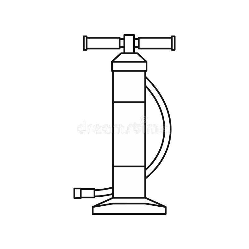 Entregue o ícone da bomba da bicicleta ou do carro, estilo do esboço ilustração royalty free