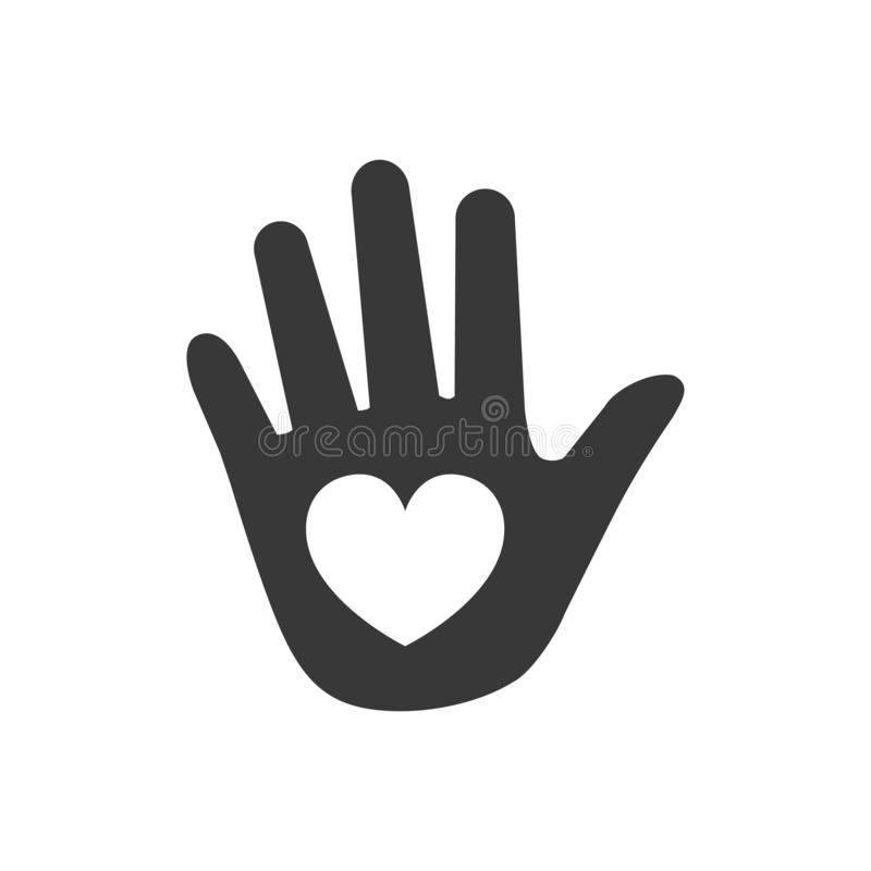 Entregue o ícone do coração, ilustração do vetor isolada no fundo branco ilustração stock
