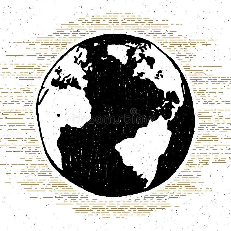 Entregue o ícone textured tirado com ilustração do vetor da terra do planeta ilustração royalty free
