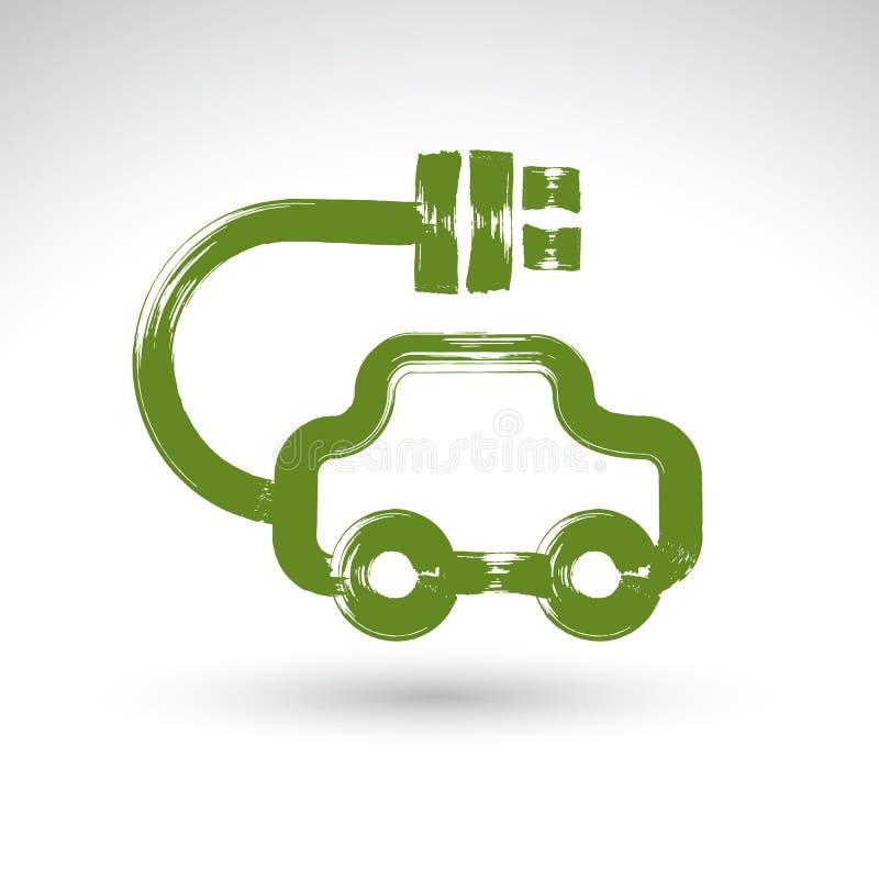 Entregue o ícone verde tirado do carro do eco, electri ilustrado do desenho de escova ilustração royalty free