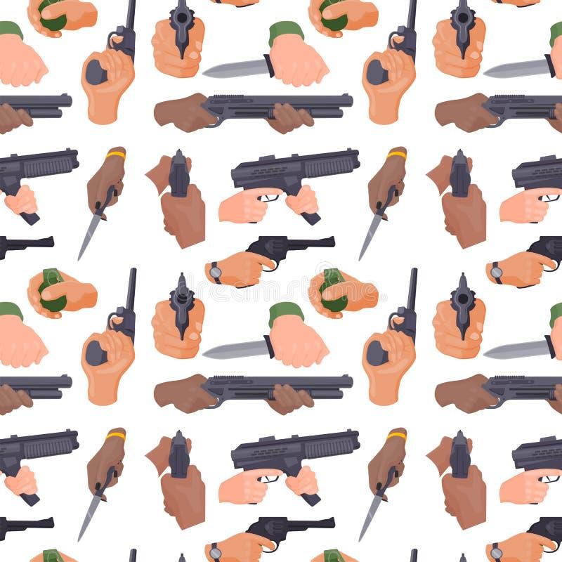 Entregue o acendimento com vetor sem emenda das mãos da arma de fogo da polícia militar do fundo do teste padrão do crime da muni ilustração do vetor
