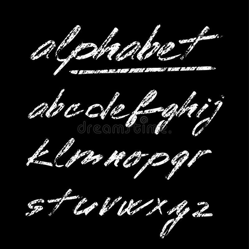 Entregue o alfabeto tirado do giz, fonte, letras isoladas ilustração do vetor
