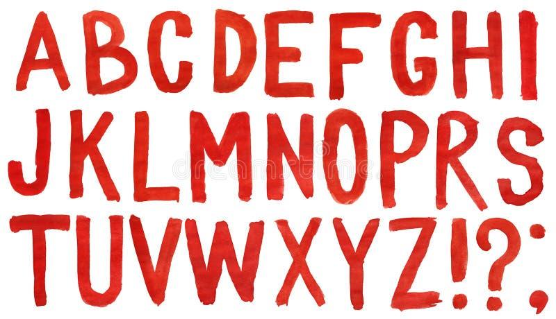 Entregue o alfabeto vermelho pintado da aguarela ilustração stock