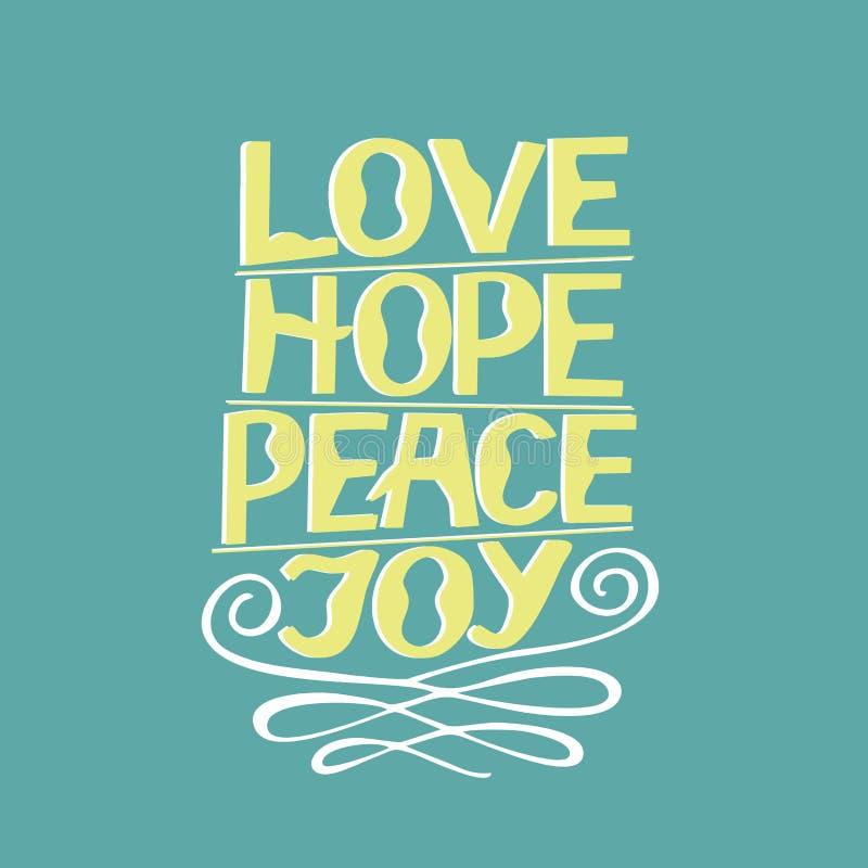 Entregue o amor da rotulação, esperança, paz, alegria ilustração stock