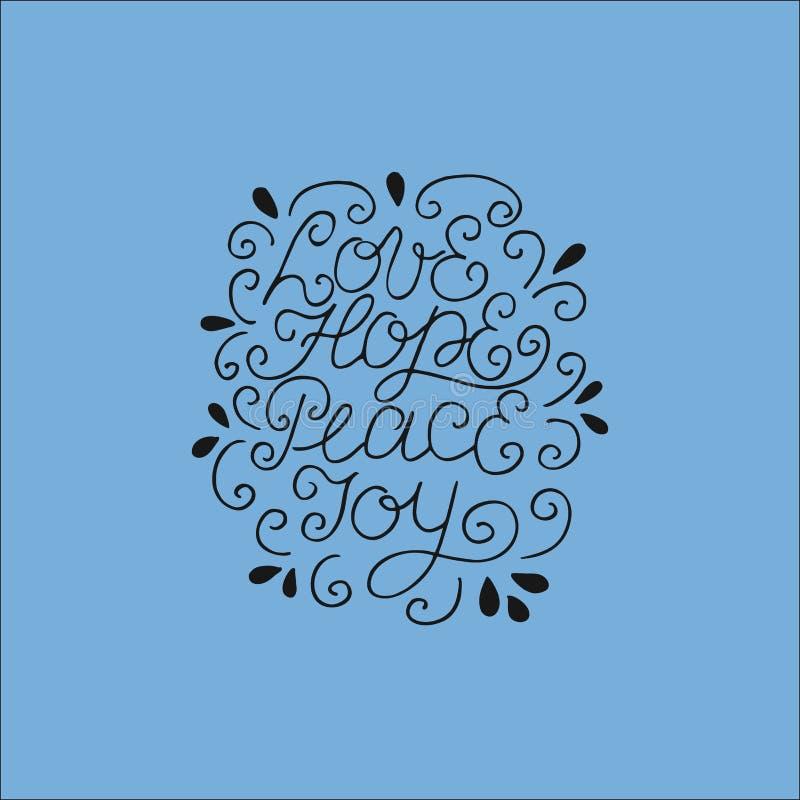 Entregue o amor da rotulação, esperança, paz, alegria ilustração do vetor
