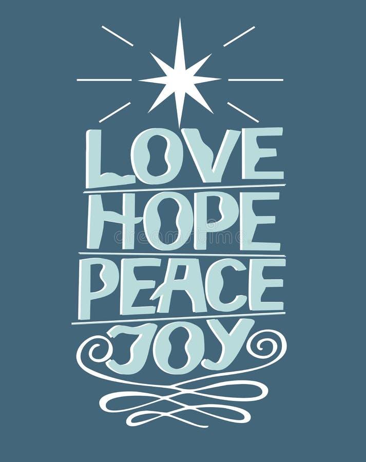 Entregue o amor da rotulação, esperança, paz, alegria com estrela ilustração do vetor