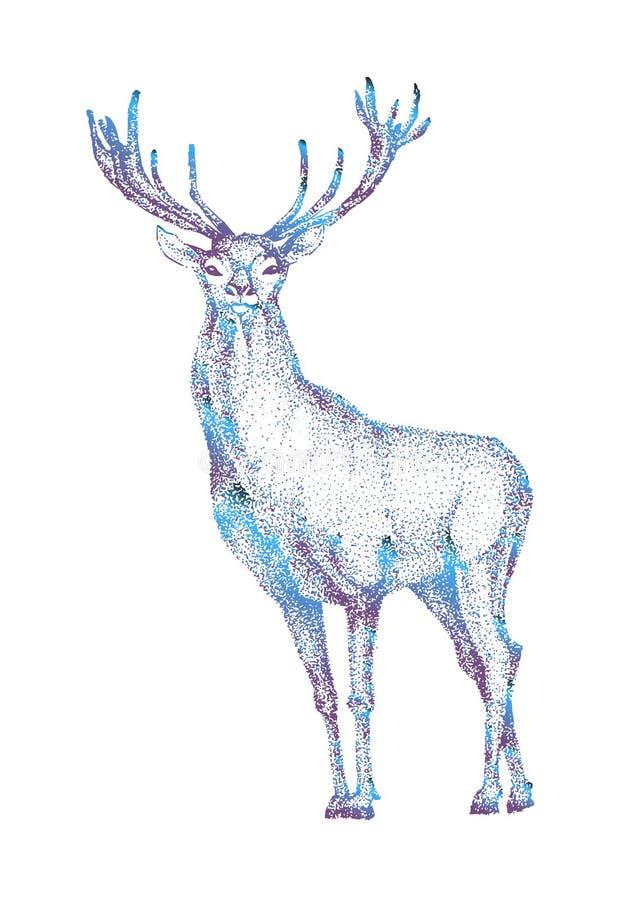 Entregue o animal tirado da ilustração do vetor dos cervos isolado no fundo branco para caçar o Web site dos quadros de avisos do ilustração stock