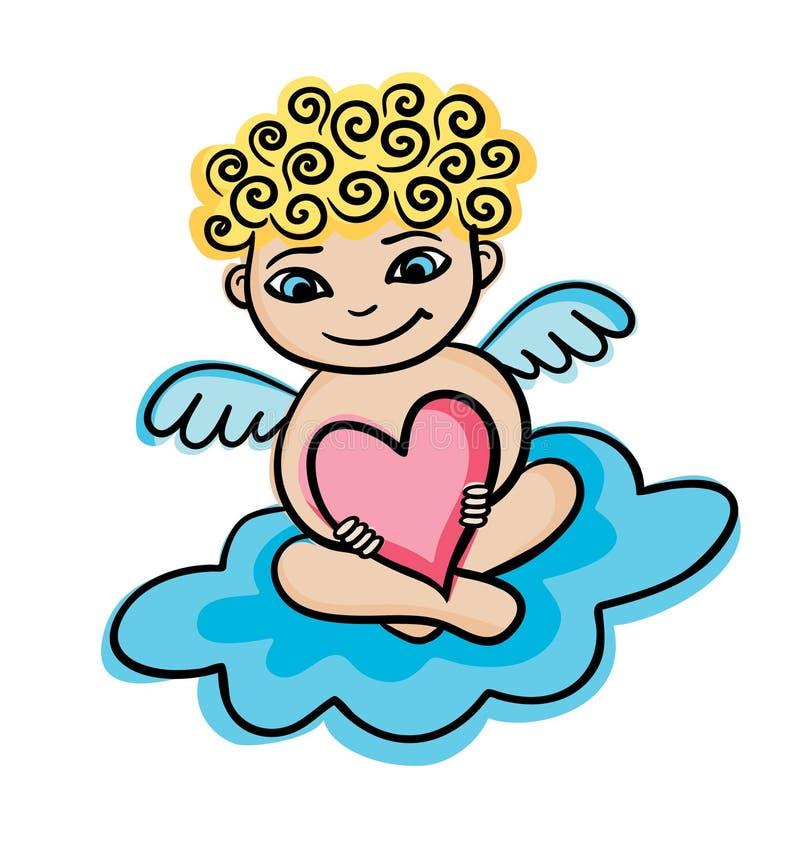 Entregue o anjo tirado com coração em uma nuvem Valentim ou cartão de casamento ilustração royalty free