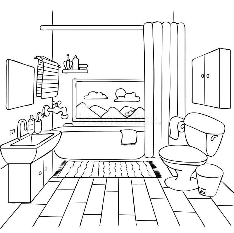 Entregue o banheiro tirado para o elemento do projeto e a página do livro para colorir para crianças e adulto Ilustração do vetor ilustração do vetor
