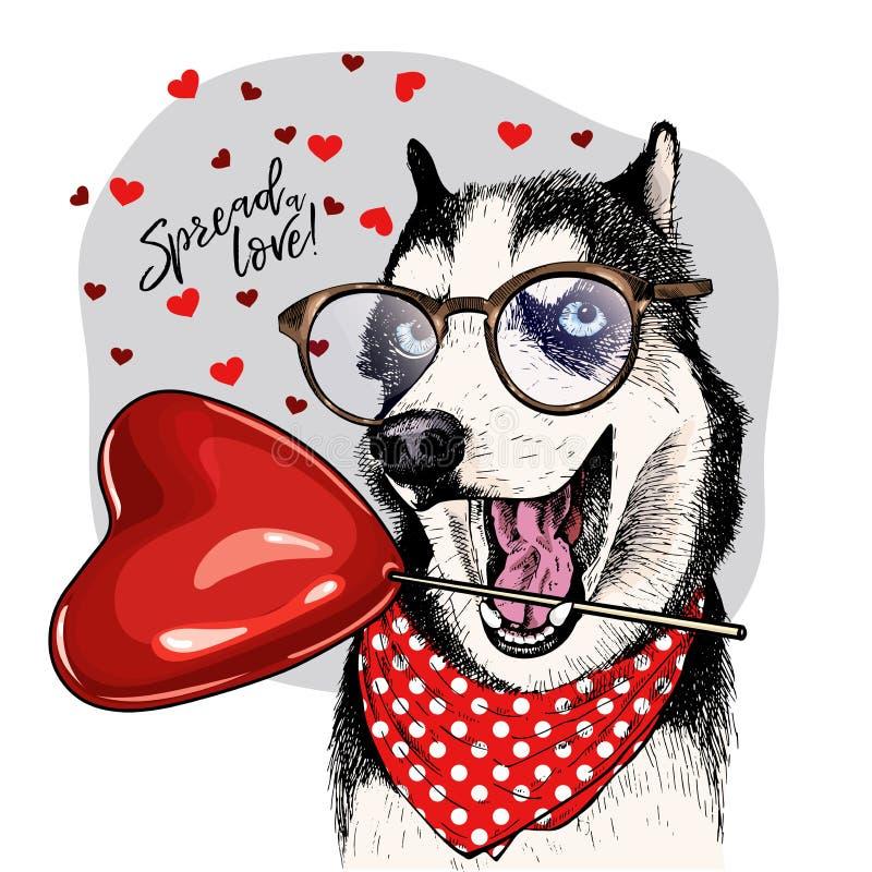 Entregue o cão de puxar trenós siberian tirado com baloon da forma do coração Cartão do dia de são valentim do vetor O cão colori ilustração do vetor