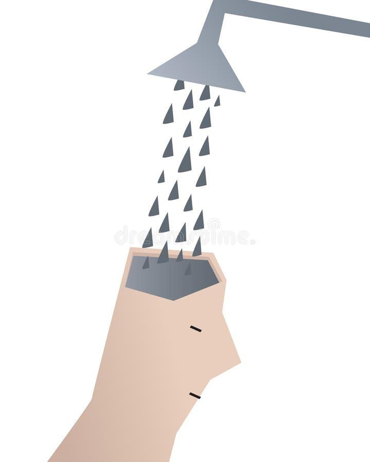Entregue o cérebro humano de lavagem com conceito da política do controlo da mente do chuveiro ilustração stock