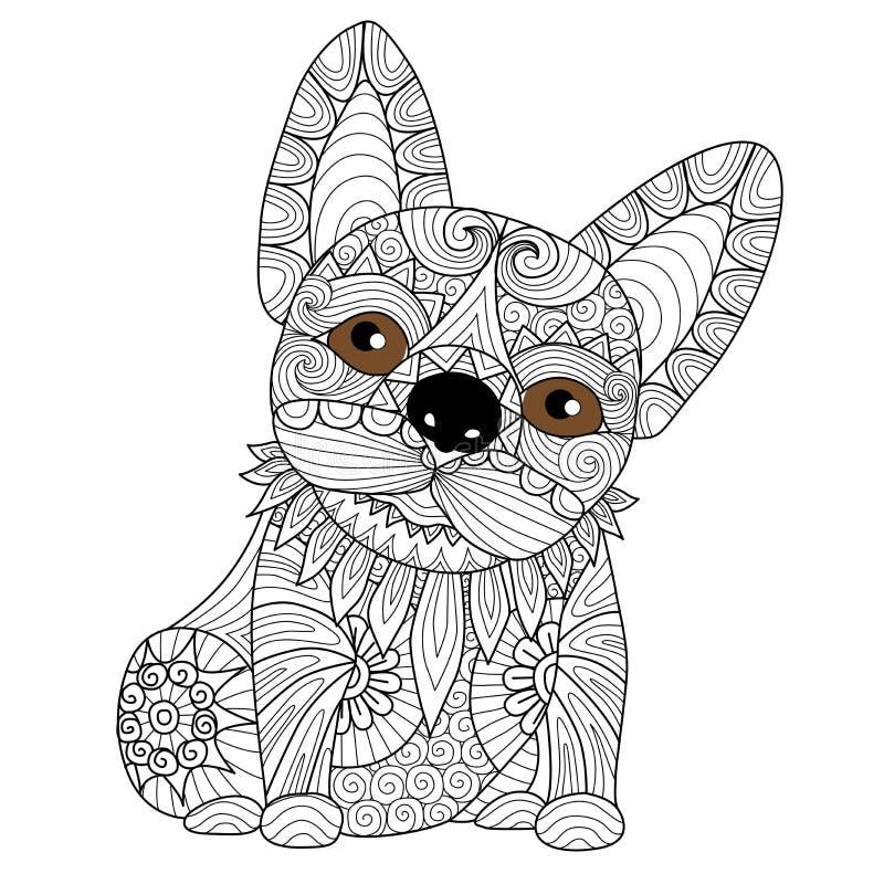 Entregue o cachorrinho tirado do buldogue para o livro para colorir para o adulto ilustração do vetor