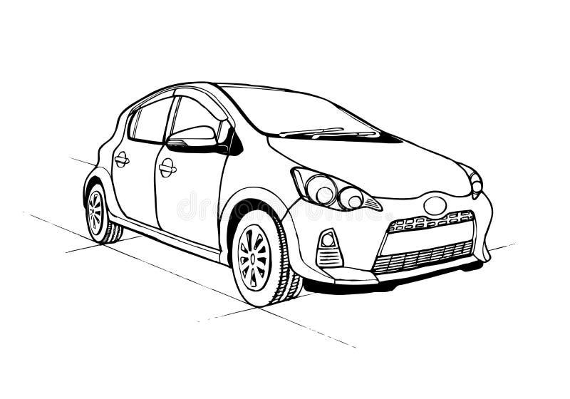 Entregue o carro tirado do esboço isolado no fundo branco ilustração royalty free