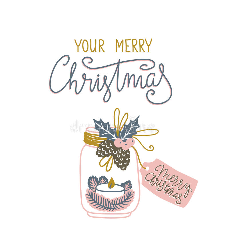 Entregue o cartão de Natal tirado com rotulação e presente Ilustração escandinava do vetor do estilo ilustração royalty free
