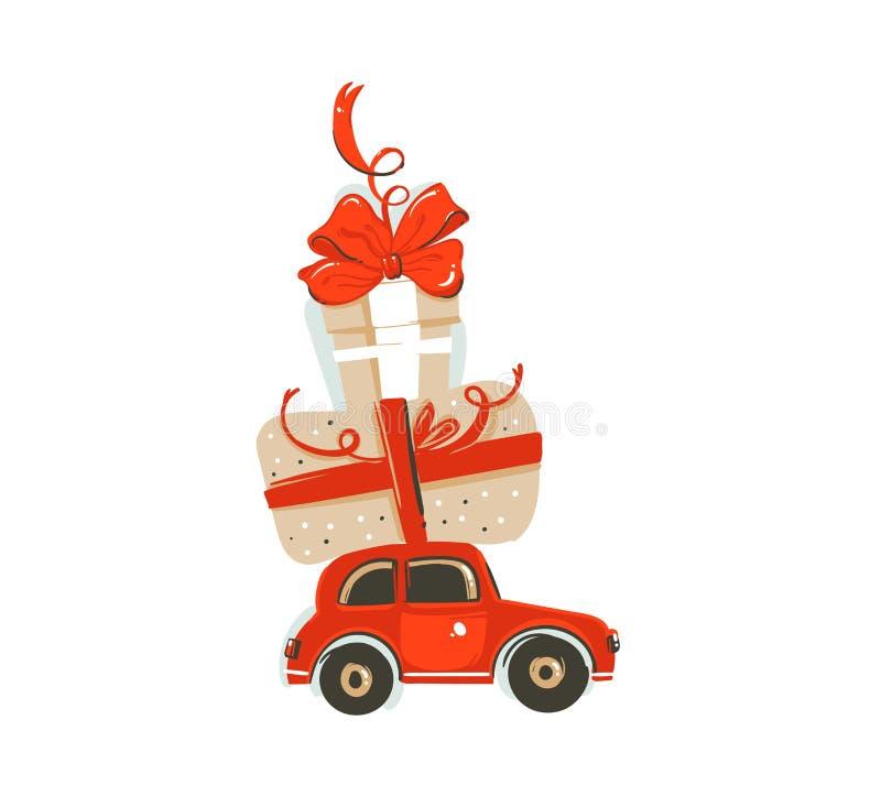 Entregue o cartão tirado da ilustração dos desenhos animados do tempo do Feliz Natal do divertimento do sumário do vetor com o br ilustração royalty free