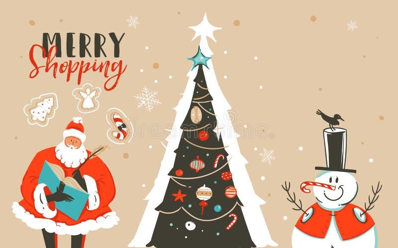 Entregue o cartão tirado da ilustração dos desenhos animados do tempo do Feliz Natal do divertimento do sumário do vetor com Sant ilustração stock