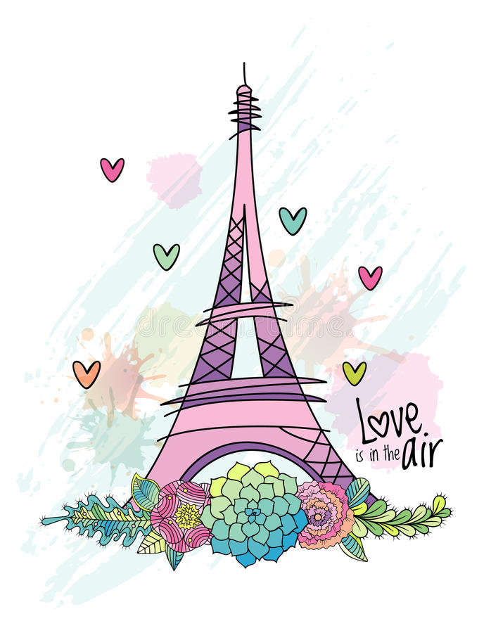Entregue o cartão tirado do amor da flor, torre Eiffel, vetor ilustração stock