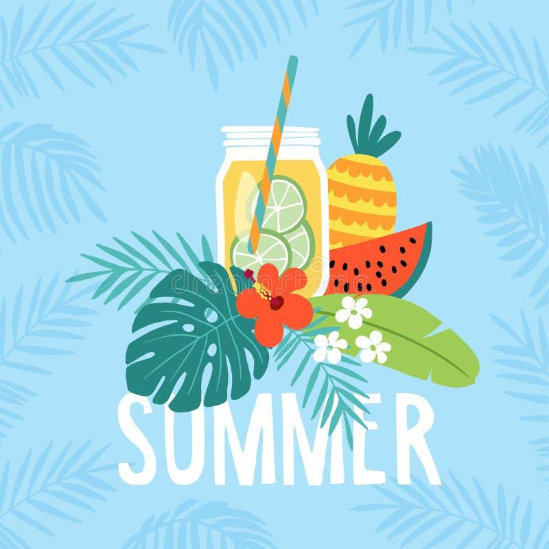 Entregue o cartão tirado do verão, convite com bebida da limonada no frasco de pedreiro Fruto da melancia e do abacaxi com ilustração royalty free