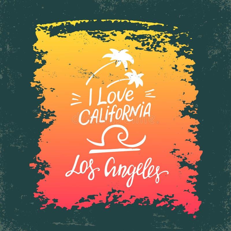 Entregue o cartaz da rotulação com a inscrição que eu amo Califórnia ilustração royalty free