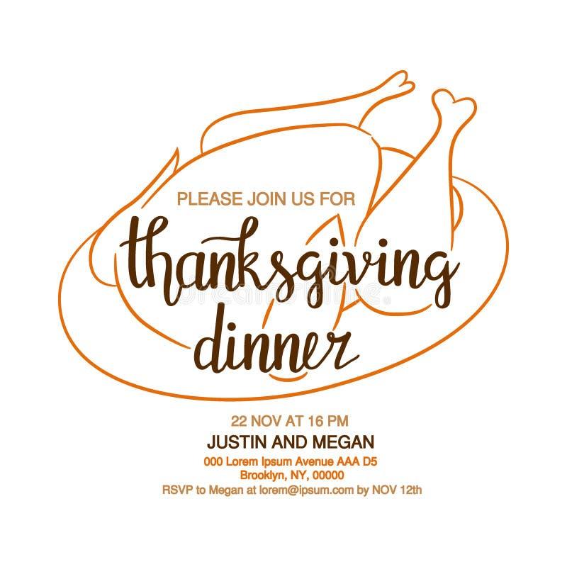 Entregue o cartaz tirado da tipografia do jantar da ação de graças com as folhas coloridas bonitos no estilo liso ilustração royalty free