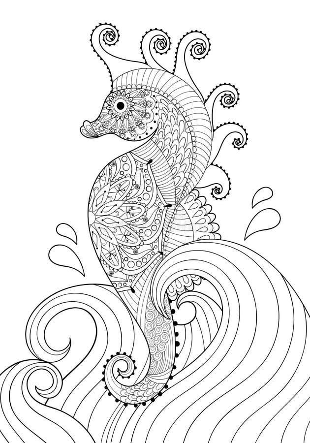 Entregue o cavalo de mar artístico tirado nas ondas para a página adulta da coloração ilustração royalty free