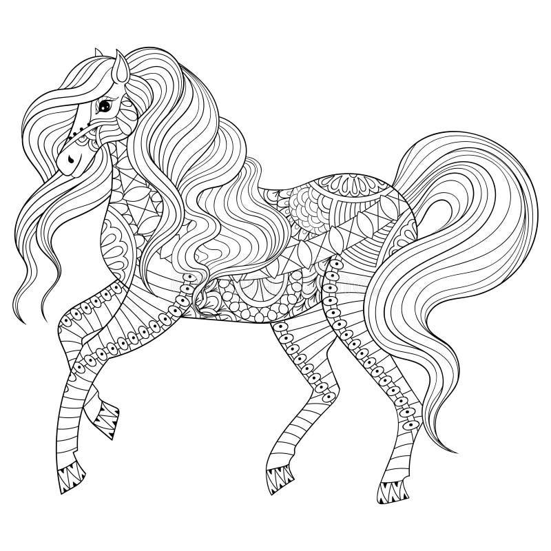Entregue o cavalo tirado do zentangle para a página adulta da coloração, terapia da arte, cartão, elemento da decoração ilustração stock
