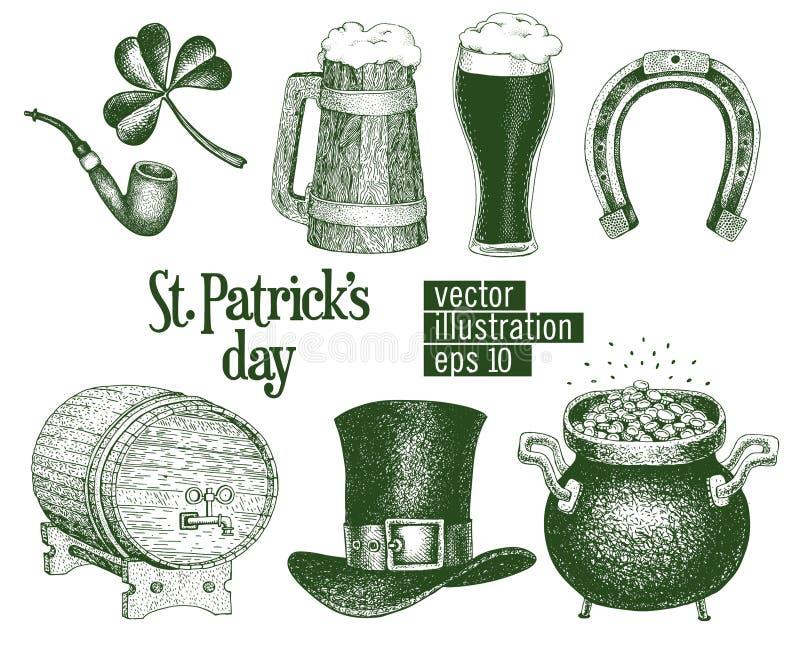 Entregue o chapéu tirado do duende do vetor, trevo, caneca de cerveja, tambor, esboço dourado do potenciômetro da moeda ajustado  ilustração stock