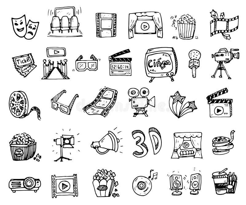 Entregue o cinema tirado e o ícone ajustado artes da garatuja do entretenimento Mão d ilustração do vetor