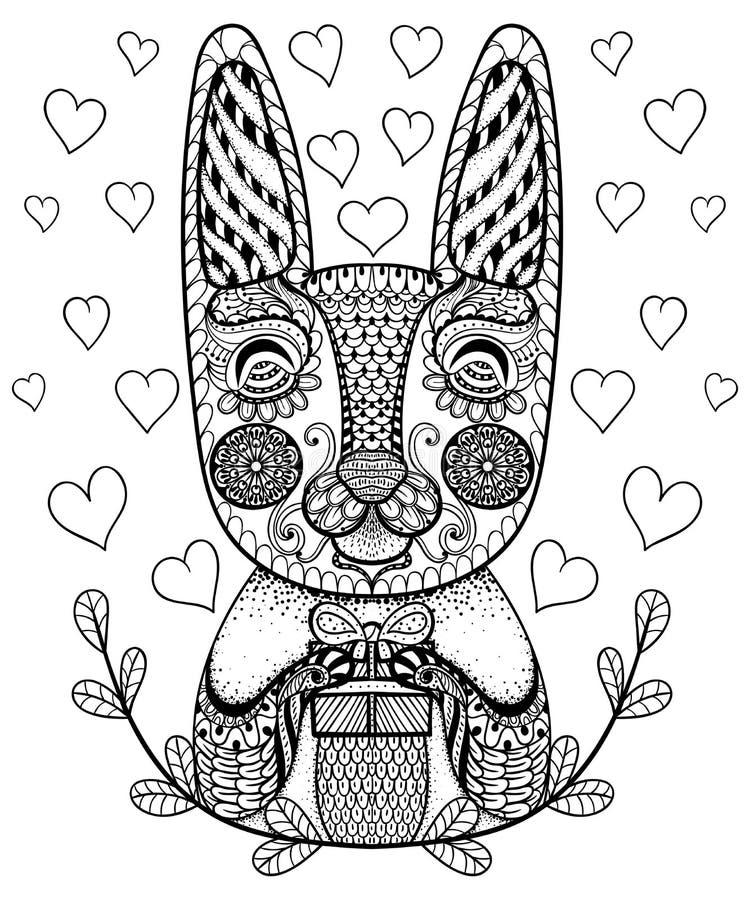 Entregue o coelho tirado da Páscoa com presente e corações na garatuja, teste padrão ilustração royalty free