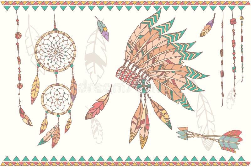 Entregue o coletor, grânulos e penas tirados do sonho de nativo americano ilustração stock