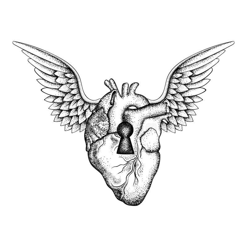 Entregue o coração humano anatômico elegante tirado com asas e buraco da fechadura, ilustração stock