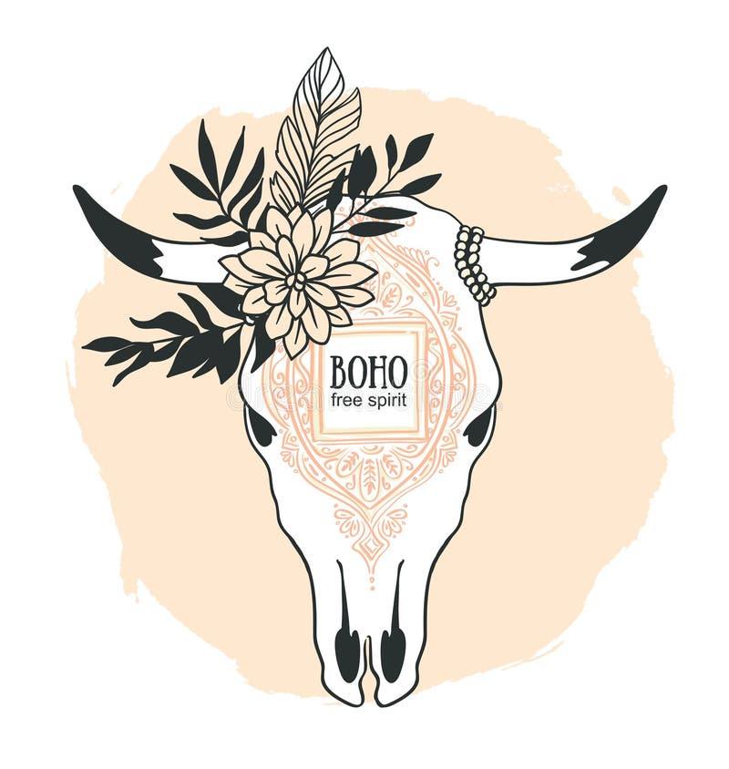 Entregue o crânio tirado da vaca com ornamento, flor, folhas e pena ilustração stock