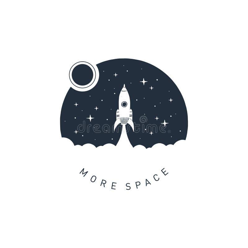 Entregue o crachá tirado do espaço com ilustração textured do vetor imagens de stock