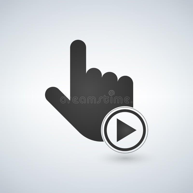 Entregue o cursor do rato com o botão do jogo no círculo Ilustração ilustração do vetor