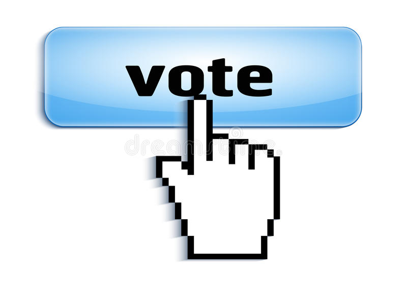 Entregue o cursor do rato do computador da seleção da relação que pressiona o botão lustroso com o texto do voto isolado no fundo ilustração royalty free